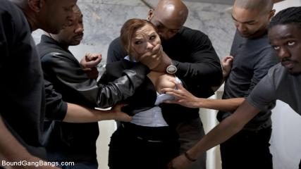 Free Gang Bang Porns - Sexy Business Lady Gets Overpowered And Gang Banged In A Public Restroom By Big Black Cocks